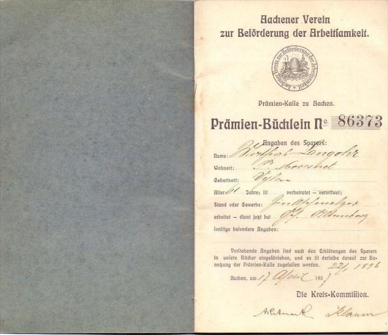 5100 AACHEN, Prämien-Büchlein, Aachener Verein zur Förderung der Arbeitsamkeit, 1905, im Folder 2