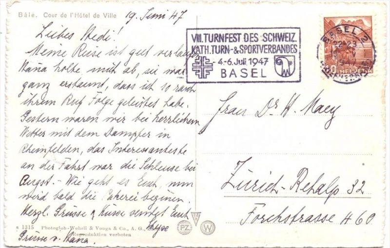 SPORT - TURNEN, Turnfest Basel 1947, Sonderstempel