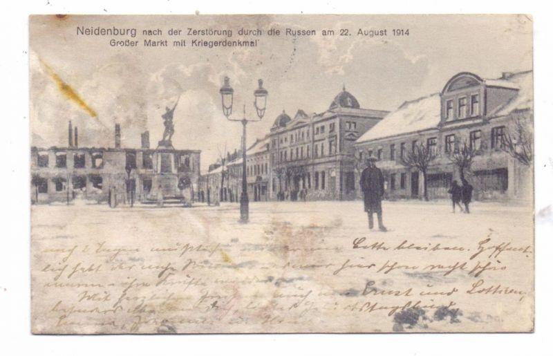 OSTPREUSSEN - NEIDENBURG / NIDZICA, Großer Markt, Kriegerdenkmal, 1914, mäßige Erhaltung / AF