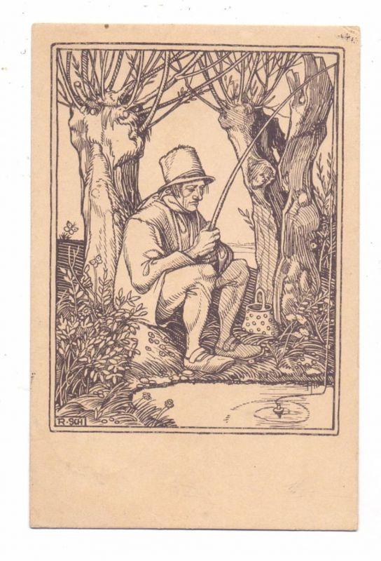 FISCHFANG / ANGELN, Künstler-Karte Rudolf Schiestl
