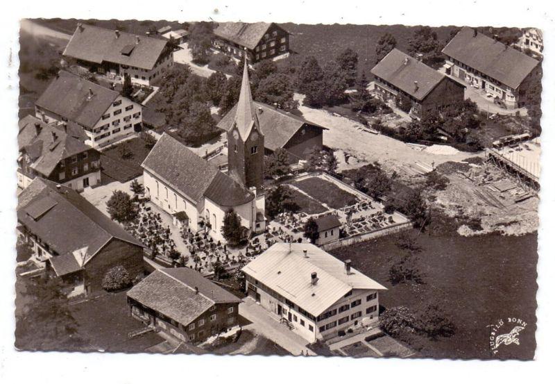 8974 OBERSTAUFEN - THALKIRCHDORF, Luftaufnahme Kirche und Umgebung