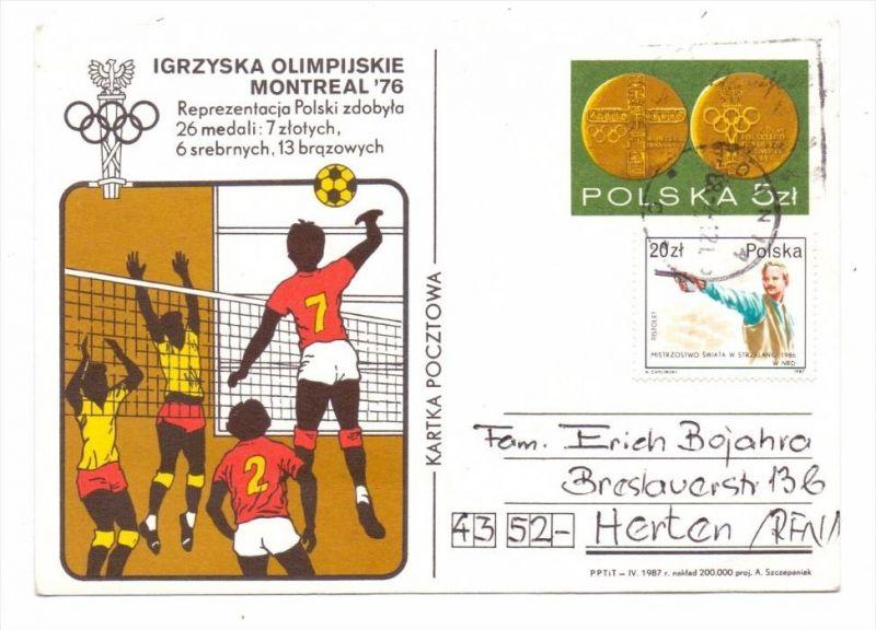 SPORT - VOLLEYBALL, Olympia Montreal 1976, Polnische Ganzsache 0