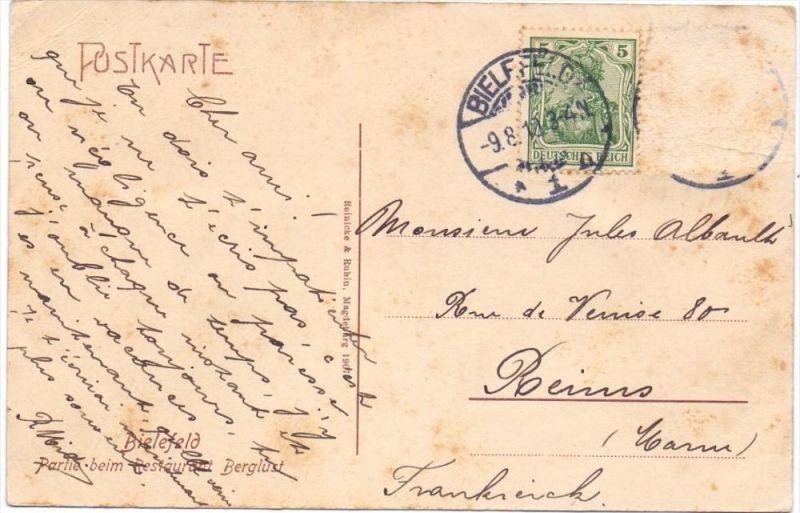 4800 BIELEFELD, Partie beim Restaurant Berglust, 1910, color 1