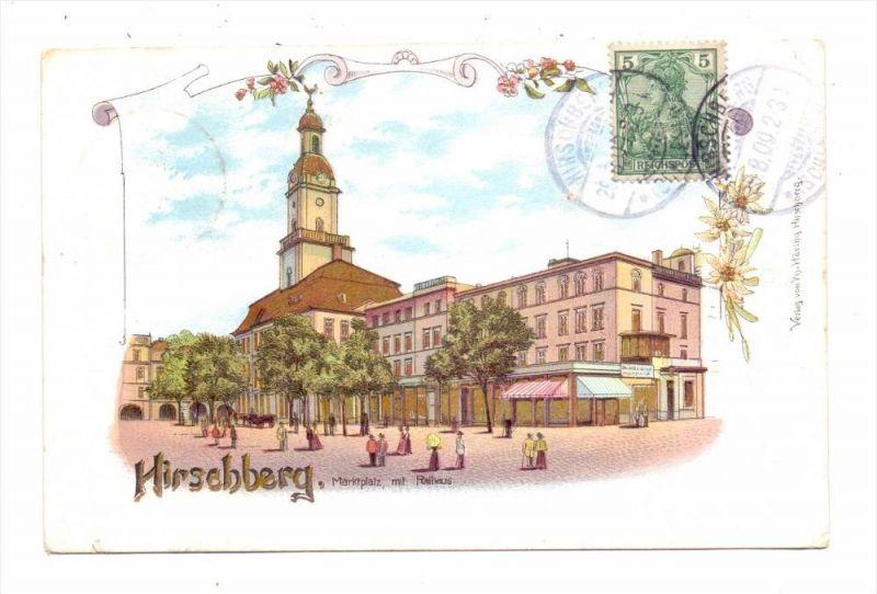 NIEDERSCHLESIEN - HIRSCHBERG / JELENA GORA, Marktplatz, Rathaus, 1900, Lithographie, GOLDEN WINDOWS