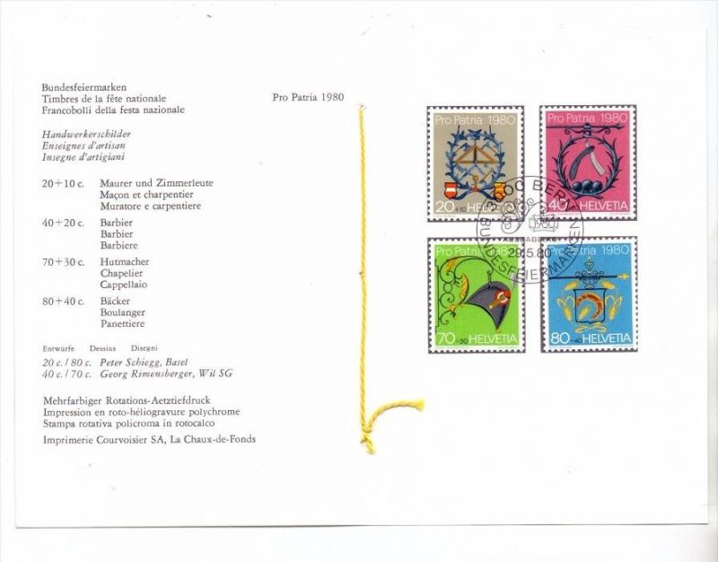 SCHWEIZ - PRO PATRIA 1980, Präsentations Mappe # 175