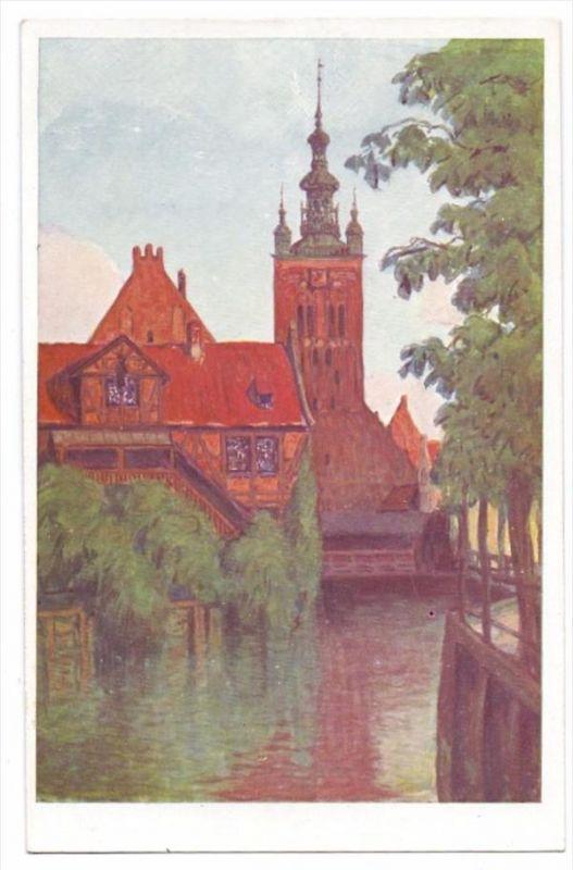 DANZIG, Müllergewerkshaus mit Katharinenkirche, Künstler-Karte Bertold Hellingrath