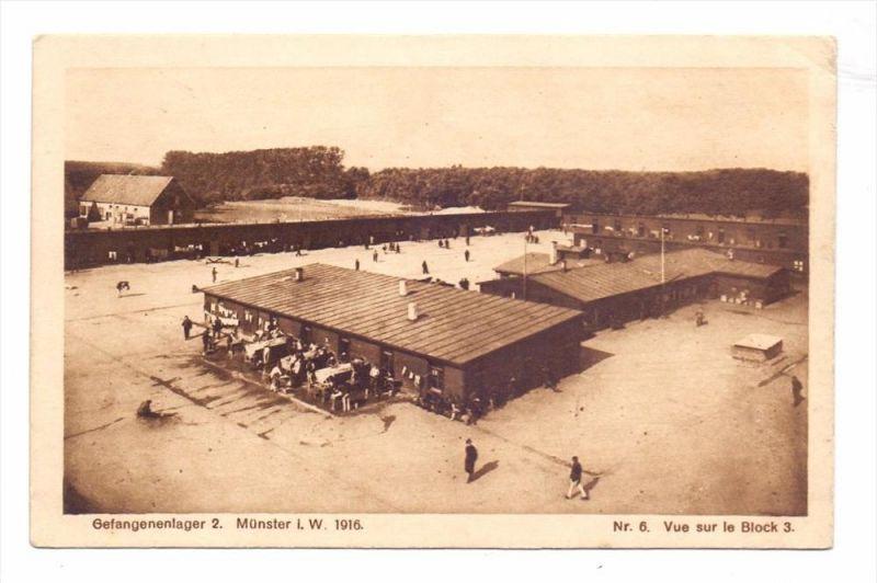 4400 MÜNSTER, Kriegs - Gefangenenlager / POW,, 1916, Blick auf Block 3