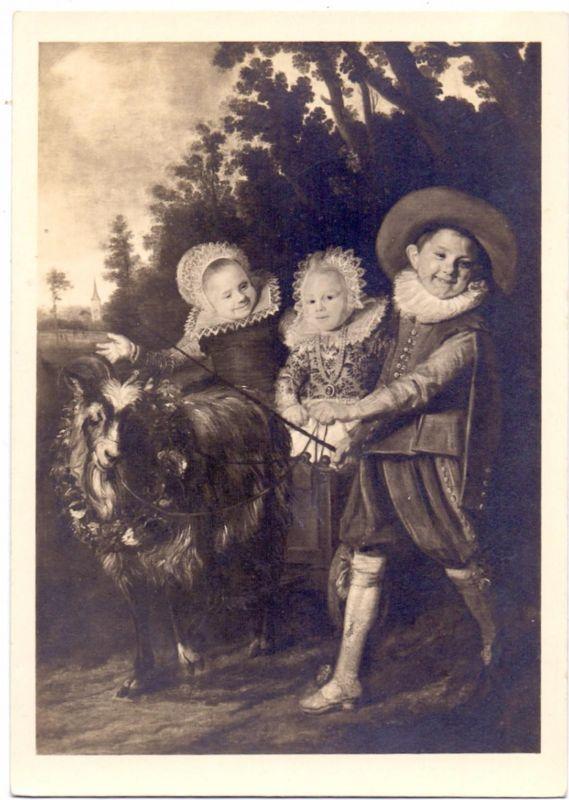 TIERE - ZIEGEN / Goats / Geiten / Chevres, Künstler-Karte Frans Hals, Kinder mit Ziegenbock