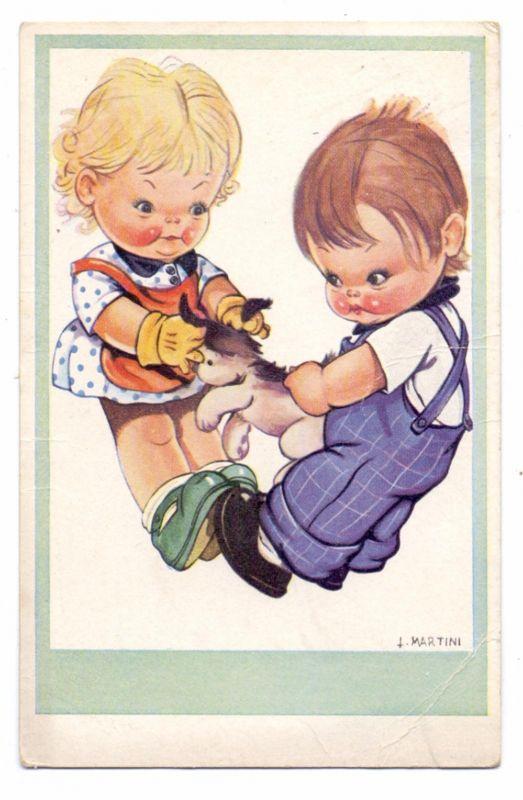 KINDER - Künstler-Karte L. Martini, Kinder mit Hund, 1941, Eckknick