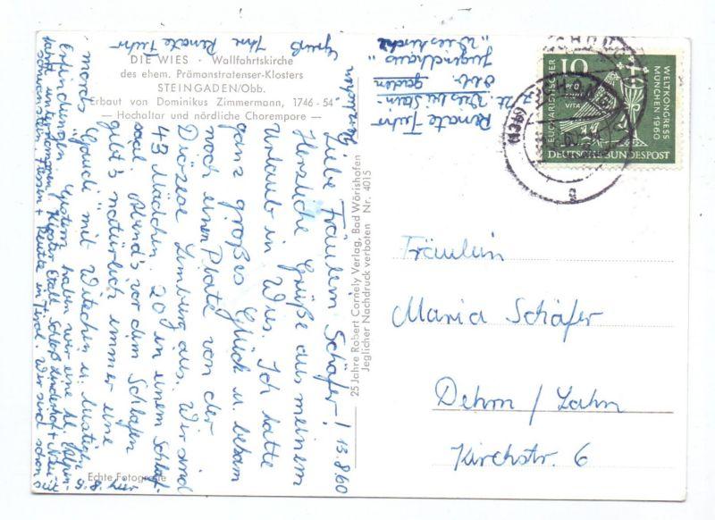 BUND, 1960, Michel 330, Postkarten Einzelfrankatur