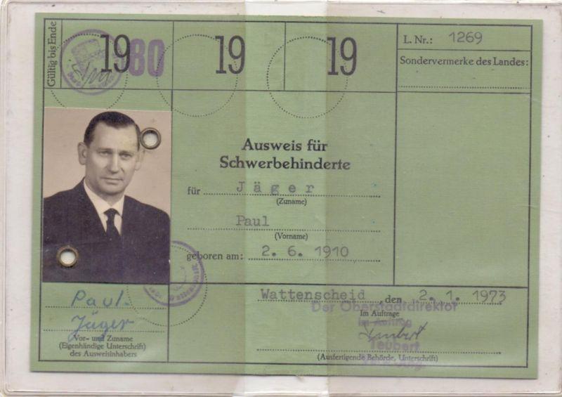 AUSWEIS - Schwerbehinderten-Ausweis, 1980, Bochum-Wattenscheid