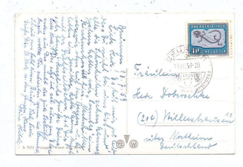 SCHWEIZ - PRO PATRIA 1959, Zumstein 95 / Michel 678, AK-Einzelfrankatur nach Deutschland