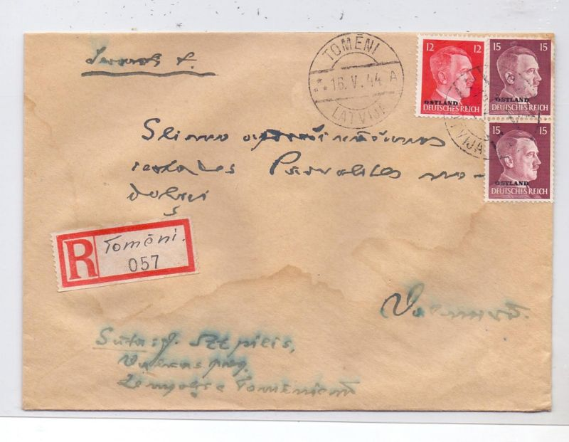 LATVIJA / LETTLAND - 1944, ziviler R-Brief, Michel Ostland 8 & 9 (2), 16.5.44 Tomeni, handgeschr. R-Zettel, kl. Wasserfl
