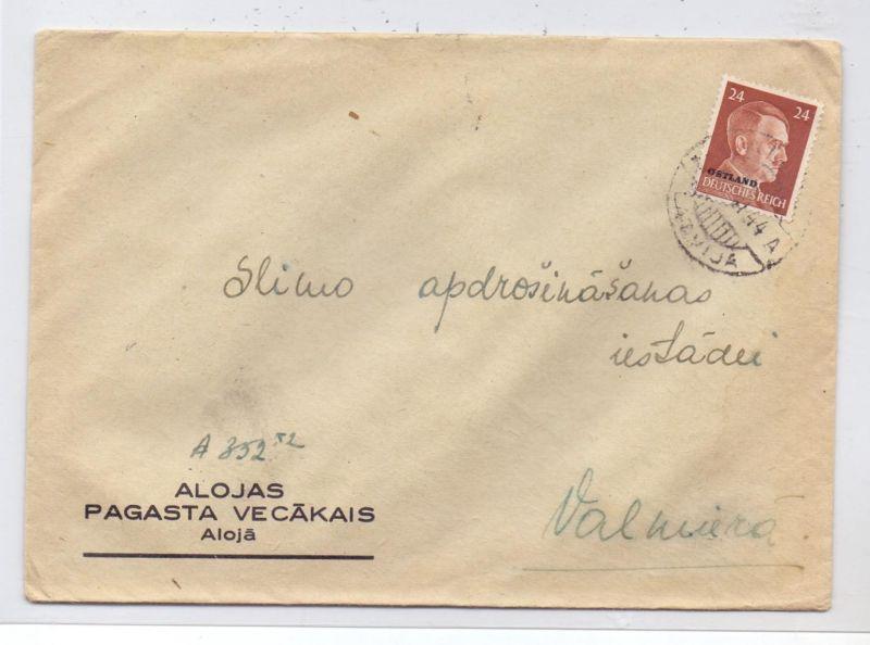 LATVIJA / LETTLAND - 1944, ziviler Brief, Michel Ostland 12, ...11.44 Tomeni, ALOJA
