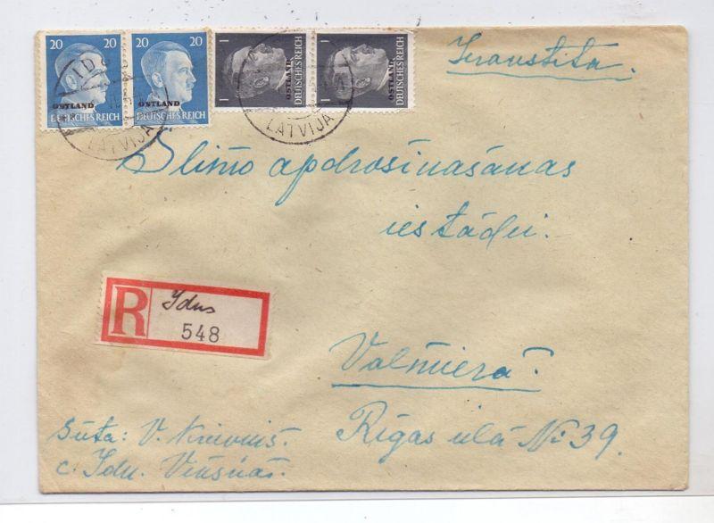 LATVIJA / LETTLAND - 1944, ziviler R-Brief, Michel Ostland 1 (2) & 11 (2), 2.6.44, IDUS, handgeschr. R-Zettel
