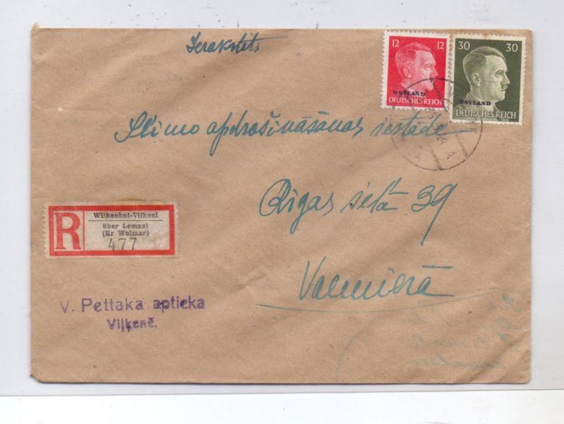 LATVIJA / LETTLAND - 1944, ziviler R-Brief, Michel Ostland 8 & 14, 2.6.44, VILKENI / WILKENHOF