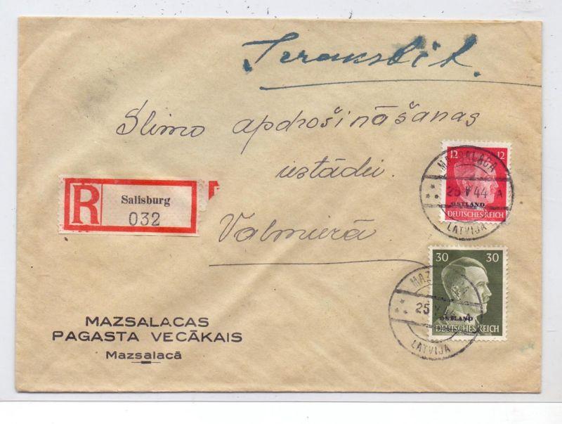 LATVIJA / LETTLAND - 1944, ziviler R-Brief, Michel Ostland 8 & 14, 25.4.44, SALISBURG /MAZSALACA