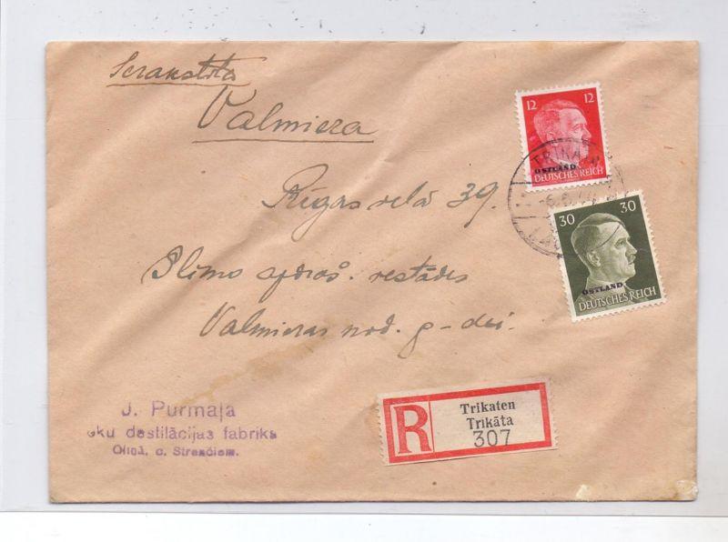 LATVIJA / LETTLAND - 1944, ziviler R-Brief, Michel Ostland 8 & 14, 6.6.44, TRIKATEN / TRIKATA