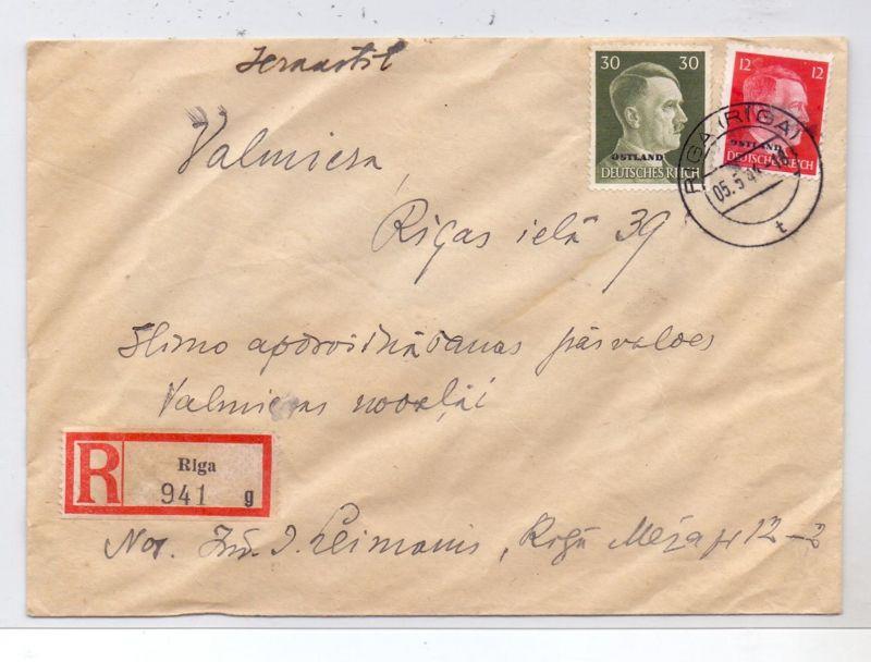 LATVIJA / LETTLAND - 1944, ziviler R-Brief, Michel Ostland 8 & 14, 5.5.44, RIGA