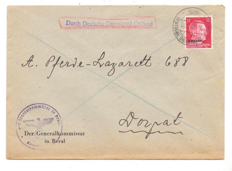 EESTI / ESTLAND - 1942, OSTLAND, Dienstpost, Generalkommisar Reval / Tallinn, an Pferde - Lazarett Dorpat