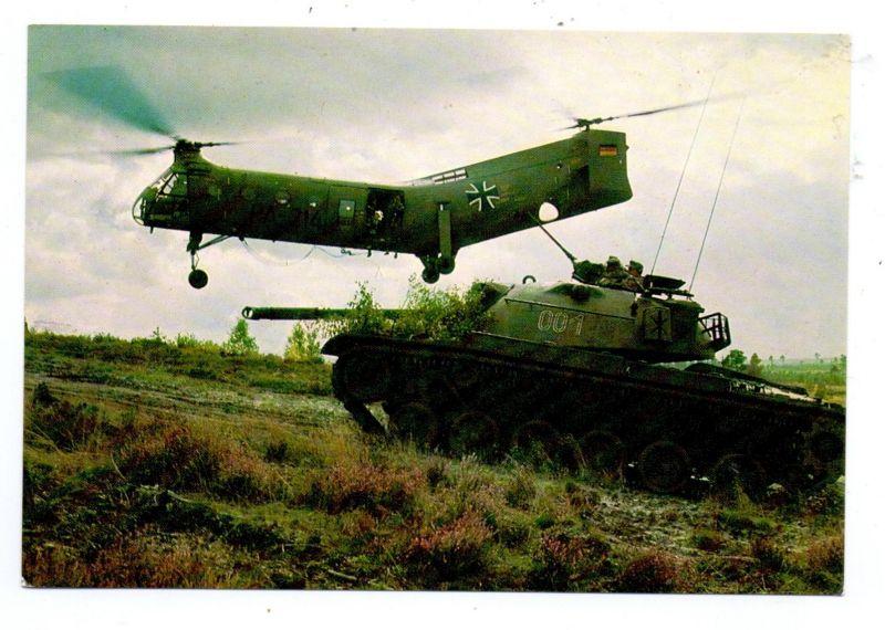 MILITÄR - BUNDESWEHR, Helikopter / Hubschrauber VERTOL H 21 & Panzer M 48