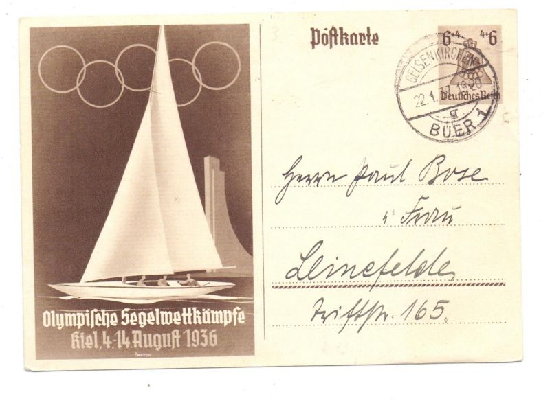 SPORT - SEGELN, Olympia 1936, Sonder-Ganzsache Olympische Segelwettkämpfe 1936