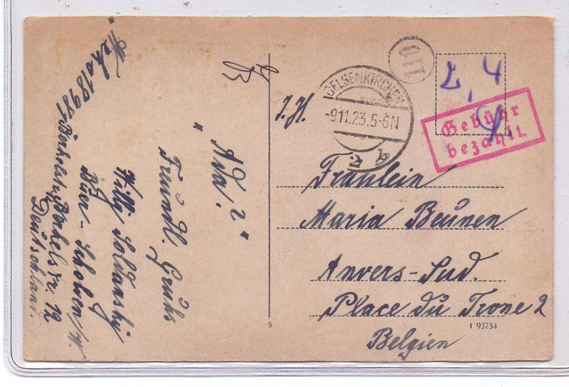 DEUTSCHES REICH, 1923, Barfrankatur  Gebühr bezahlt, Gelsenkirchen  9.11.1923