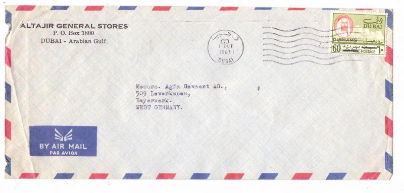 DUBAI, 1967, Michel 250, Einzelfrankatur nach Deutschland