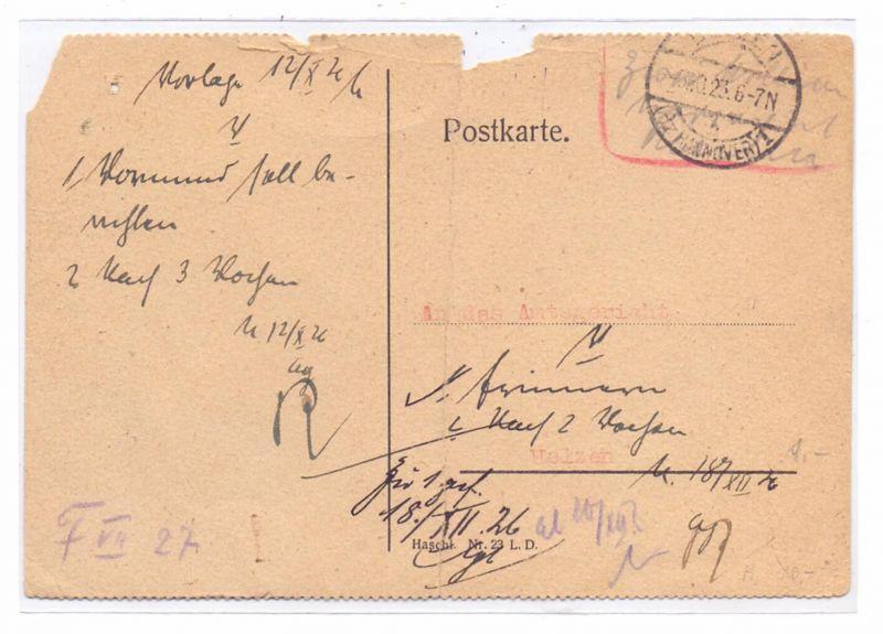 DEUTSCHES REICH, 1923, Barfrankatur  Gebühr bezahlt, Uelzen,  13.10.1923, Mittelknick