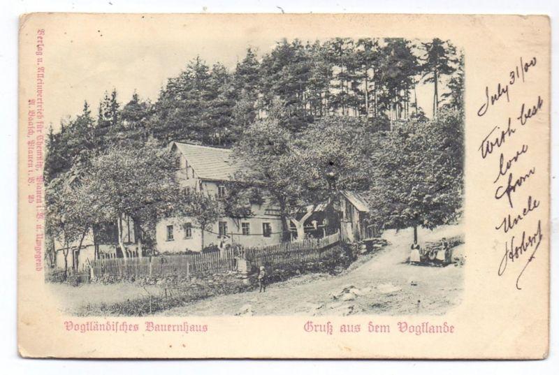 LANDWIRTSCHAFT - Vogtländisches Bauernhaus, geprägt / relief / embossed, 1900