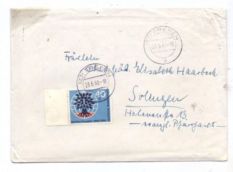 BUND, 1960, Michel 327 Weltflüchtlingsjahr, Einzel-Frankatur von Freren nach Solingen