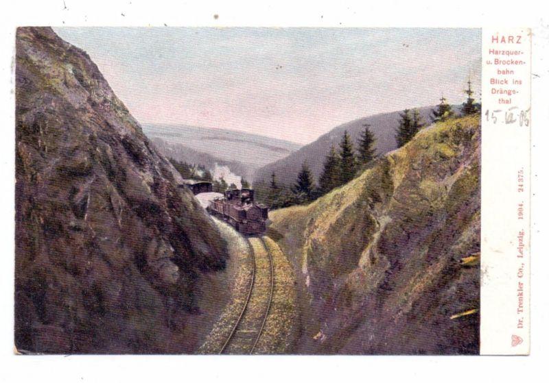 EISENBAHN / Harzquer - und Brockenbahn,Drängethal, Trenkler, 1904