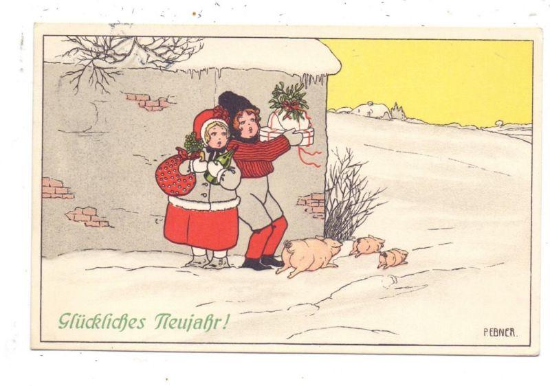 KÜNSTLER / ARTIST - PAULI EBNER, Glückliches Neujahr, Kinder mit Schweinchen, 1911, Munk # 551