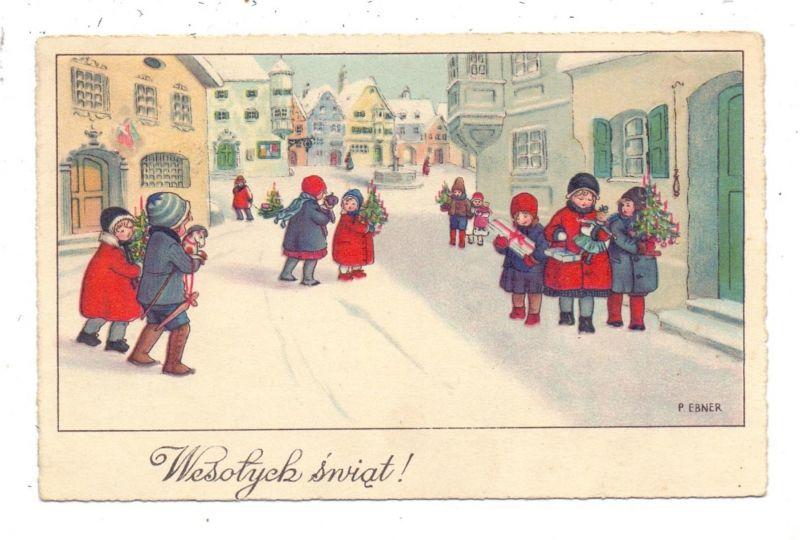 KÜNSTLER / ARTIST - PAULI EBNER, Wesolyck swiat, Kinder mit Weihnachtsgeschenken
