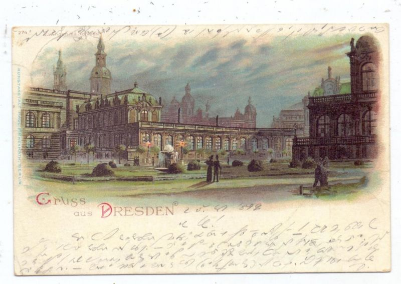 0-8000 DRESDEN, Lithographie, Gruss aus..., 1899