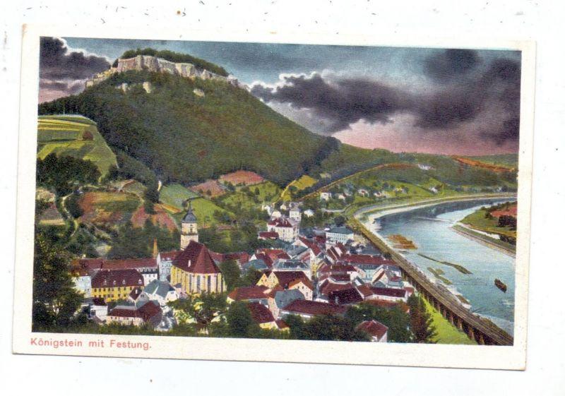 0-8305 KÖNIGSTEIN, Panorama mit Festung