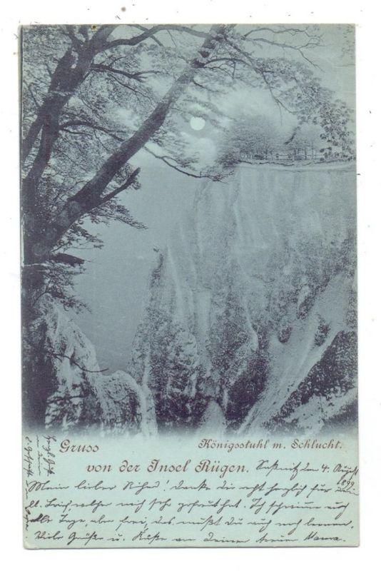 0-2331 LOHME / Rügen, Königsstuhl mit Schlucht, Mondschein-Karte 1899