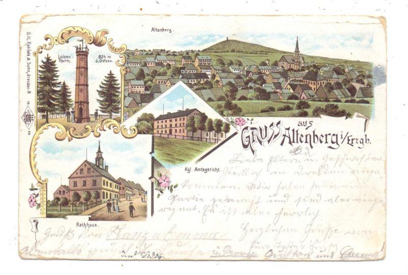 0-8242 ALTENBERG, Lithographie, 1899, Rathaus, Amtsgericht, Panorama, Luisen Turm, Eckmangel, Einriss