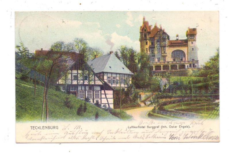 4542 TECKLENBURG, Luftkurhotel Burggraf, 1904, Bahnpost Gütersloh-Ibbenbüren