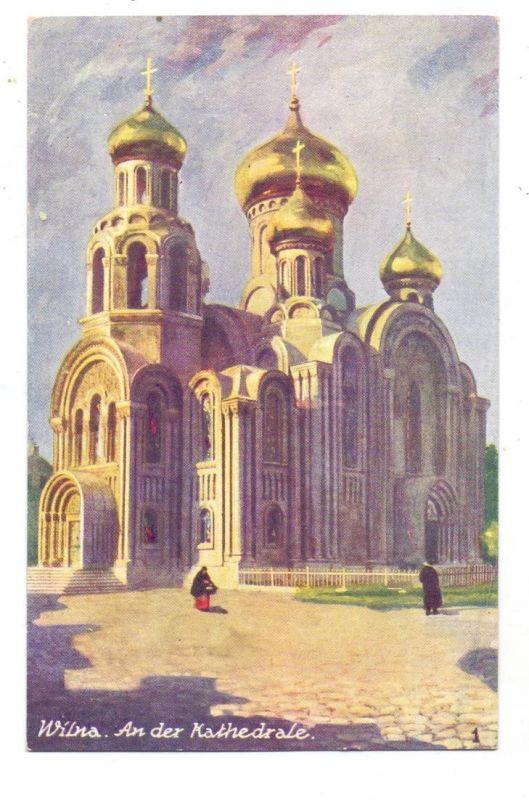 LIETUVA / LITAUEN - VILNIUS / WILNA, An der Kathedrale, Künstler-Karte