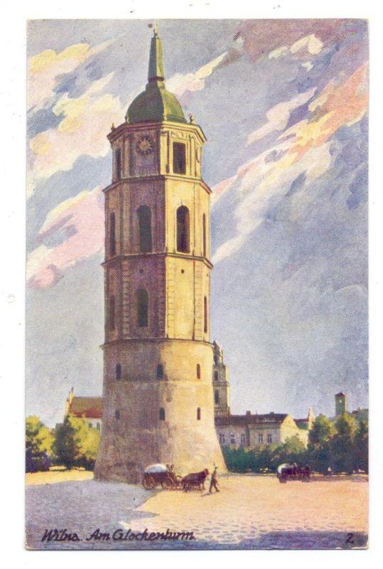 LIETUVA / LITAUEN - VILNIUS / WILNA, Am Glockenturm, Künstler-Karte