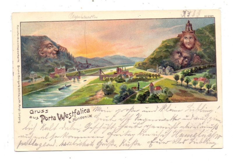 4952 PORTA WESTFALICA, Litho 1899, Berggesichter, Bahnpost CÖLN - HANNOVER, Verlag: Bürger & Ottilie Nr. 2107