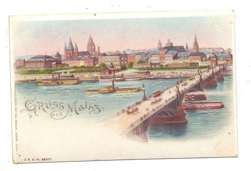 6500 MAINZ, Panorama mit Rheinbrücke, Halt gegen das Licht / Hold to light