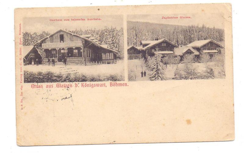 BÖHMEN & MÄHREN - GLATZEN / KLADSKA bei Königswart, Gasthaus, Jagdschloß, kl. Druckstellen