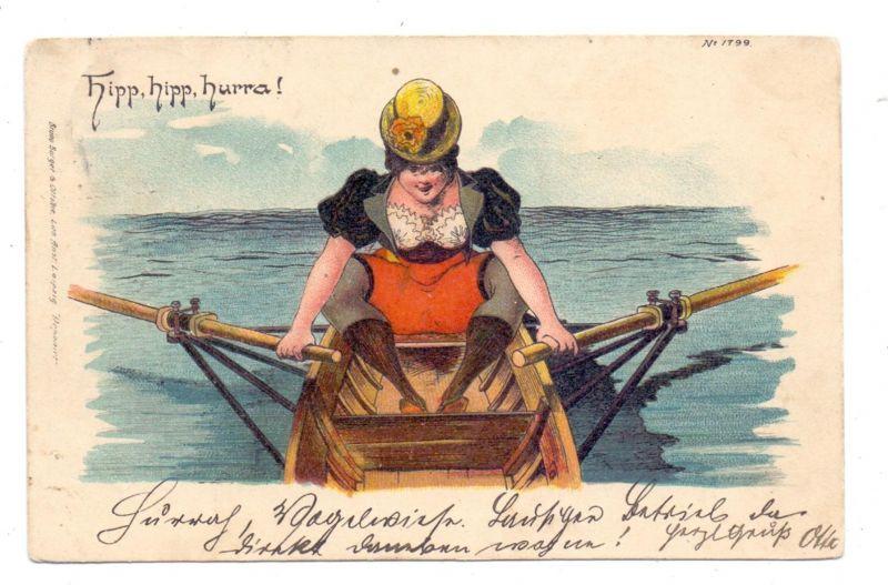 SPORT - RUDERN / rowing, Künstler-Karte Bürger & Ottillie, 1900