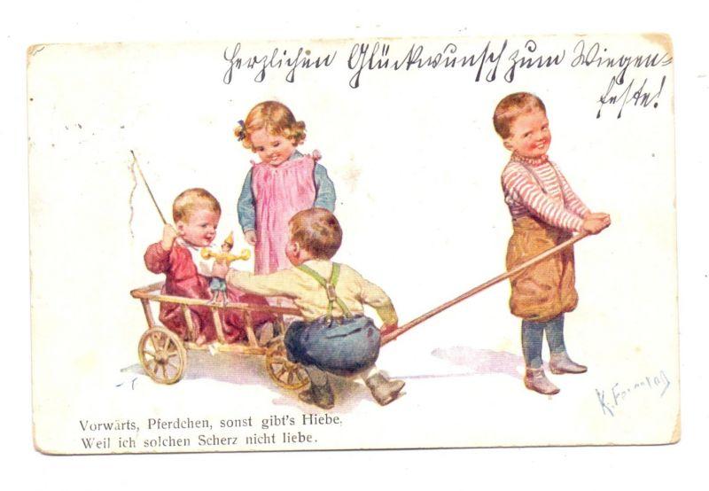 KINDER - Künstler-Karte Karl Feiertag, spielende Kinder, 1911