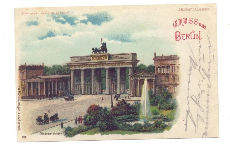 1000 BERLIN, Brandenburger Tor, Halt gegen das Licht / Hold to light
