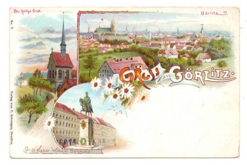 0-8900 GÖRLITZ, Lithographie, Das heilige Grab, Kaiser Wilhelm Denkmal, Panorama