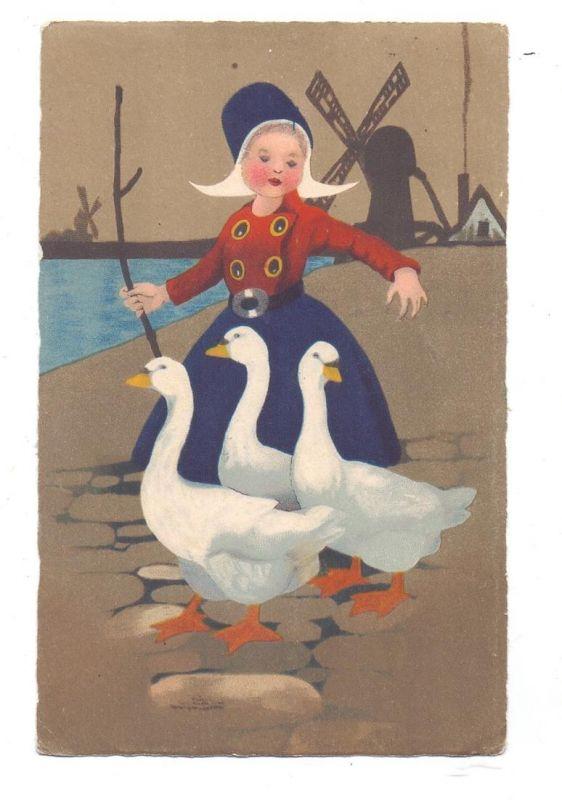 KINDER - Tracht, Niederländische Gänsehirtin, Künstler-Karte, Meissner & Buch Serie 2380