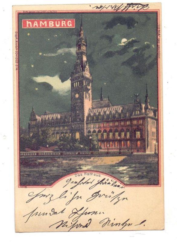 2000 HAMBURG, Das Rathaus, 1901, Halt gegen das Licht / Hold to light, LUNA